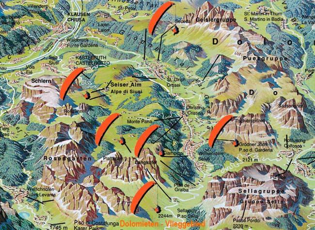 Vliegkaart Dolomieten paragliden