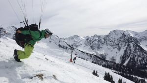 ski paragliding winter